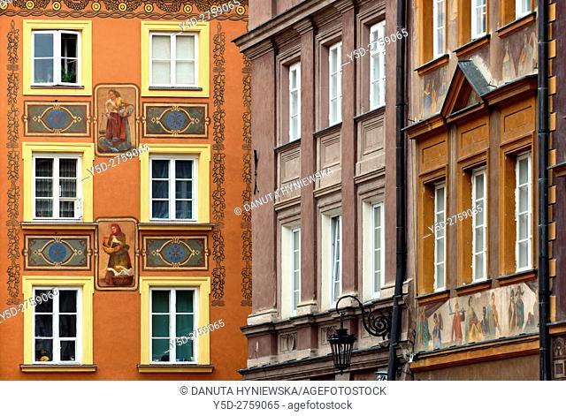 Close-up of facades, Szeroki Dunaj street, Old Town of Warsaw, UNESCO Heritage, Warsaw, Poland, Europe