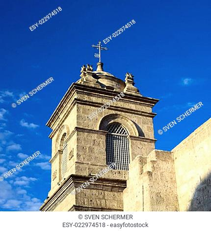 Steeple of Monasterio de Santa Catalina in Arequipa, Peru