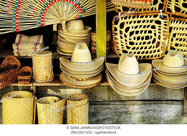Craft items made of straw in a souvernir shop of Nacajuca, Tabasco, Mexico, America