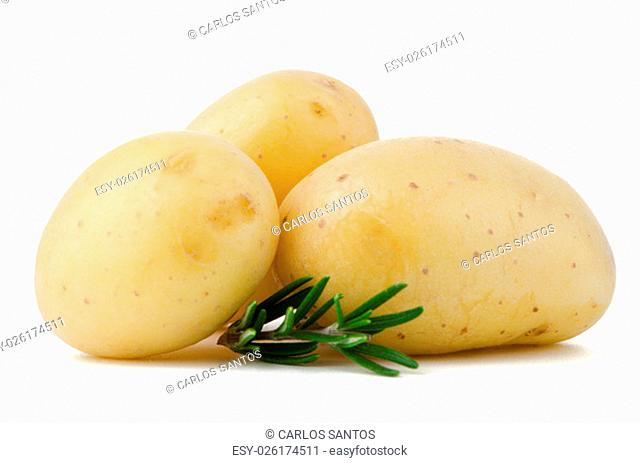 New potatoes and green herbs isolated on white background close up