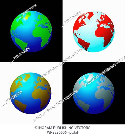 Collection of four globes in varius colour configariations