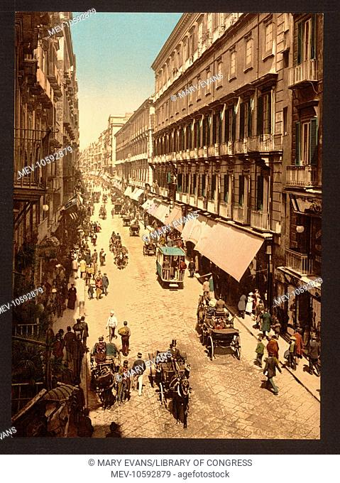 Via Roma, Naples, Italy. Date between ca. 1890 and ca. 1900