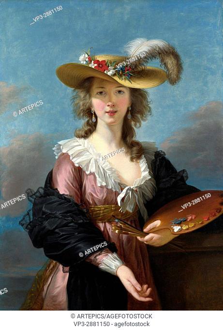 Elizabeth Louise Vigée Le Brun . Self-portrait in a straw hat. 1782 . National Gallery - London