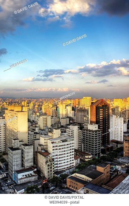 Twilight in the city of Sao Paulo Brazil