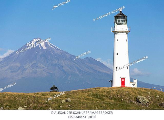 Cape Egmont Lighthouse with Mount Taranaki, Pungarehu, Taranaki Region, New Zealand