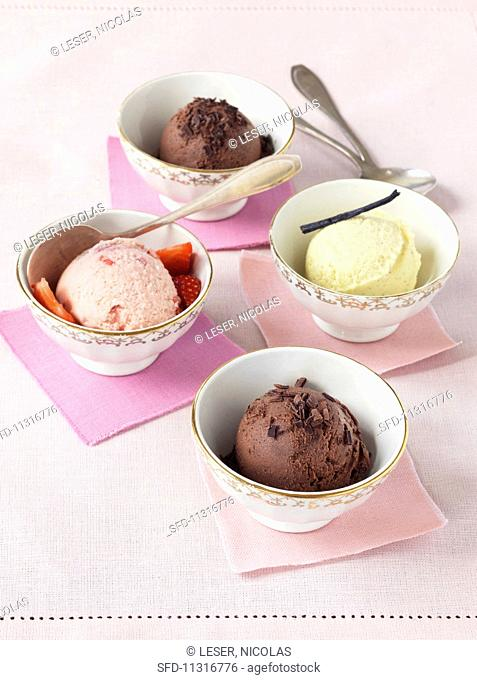 Various types of ice cream in bowls