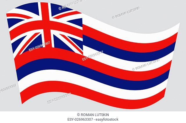 Hawaiian official flag, symbol. American patriotic element. USA banner. United States of America background. Flag of the US state of Hawaii waving on gray...