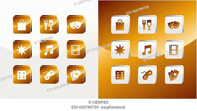 Entertainment gold icons set