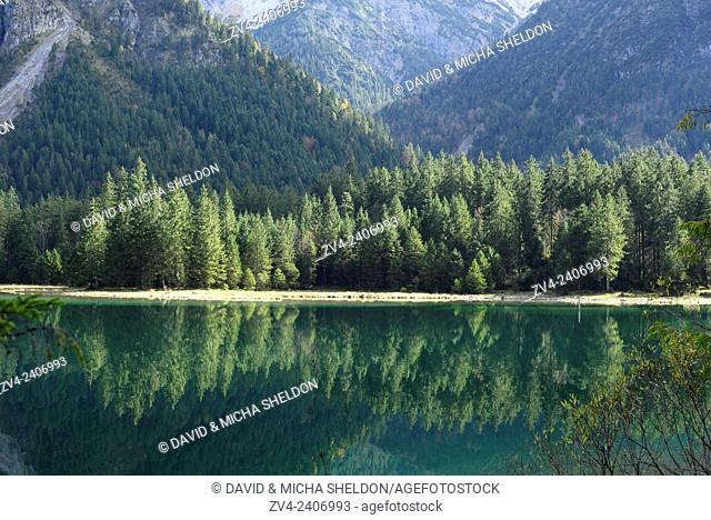 Scenic view of trees in a forest behind a lake (Plansee) in autumn in Tirol, Austria