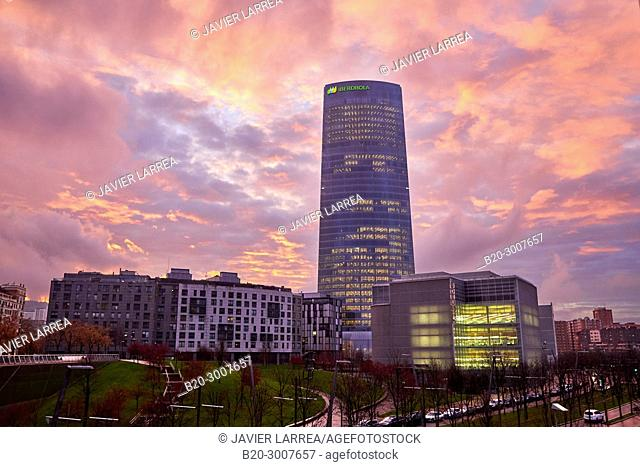 Iberdrola tower, Abandoibarra, Bilbao, Bizkaia, Basque Country, Spain, Europe