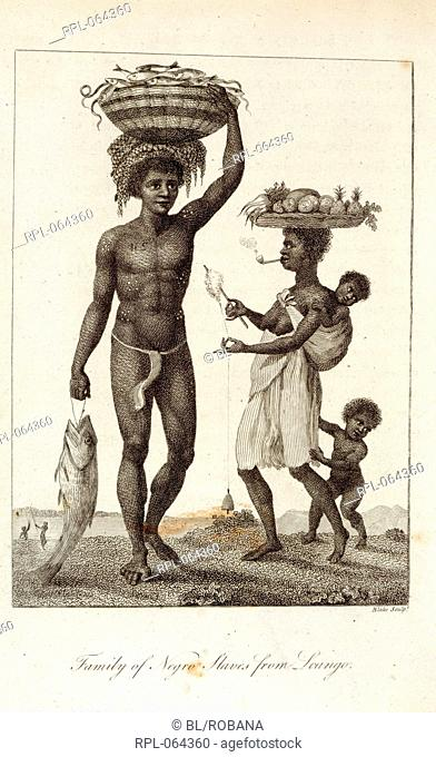 Negro slaves 'Family of Negro Slaves from Loango'. Image taken from second edition. With an account of the Indians of Guiana andnegroes of Guinea