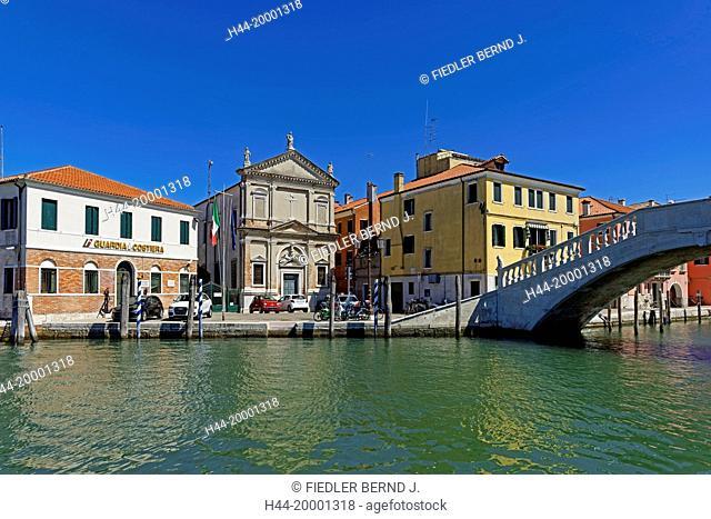 Chioggia, building, coastguard, Chiesa de Santa Croce, bridge, Ponte Vigo