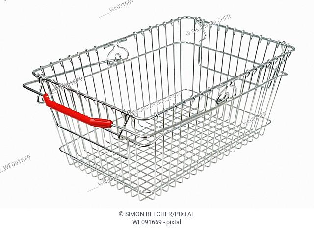 Empty Shopping Basket Against a White Background