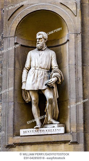 Benvenuto Cellini Statue Uffizi Gallery Florence Tuscany Italy. Statue by Ulisse Cambi in 1800s. Cellini 1500s Sculptor Perseus