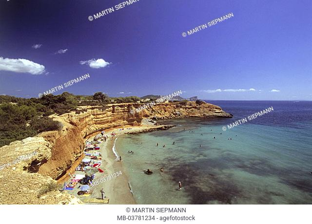 Spain, Ibiza, Sa Caleta, Felsküste, Sandy beach, swimmers,  , island, coast, Bol Nou, bath bay, tourists,  Bath fun, swimming, refreshment, cooling,  Sunbath