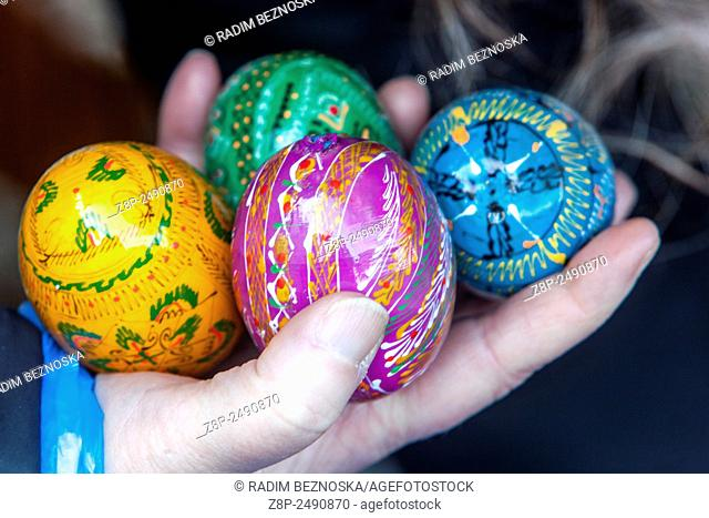 Traditional easter eggs, Prague Czech Republic, Europe