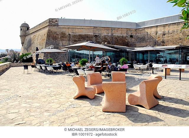 Bar cafe terrace of Es Baluard Contemporary Art Museum, modern art and architecture in the old town wall, Bastio de Sant Pere, Placa, Plaza Porta Santa Catalina