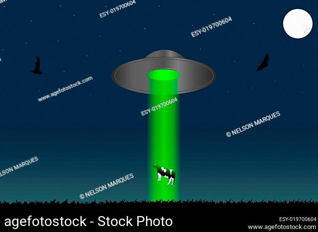 Image of a UFO levitating a cow with a night sky background