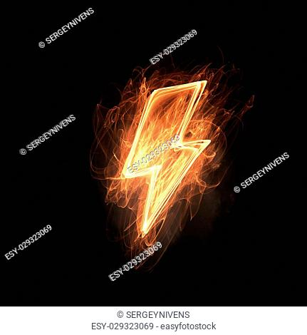 Glowing power lightning icon on dark background