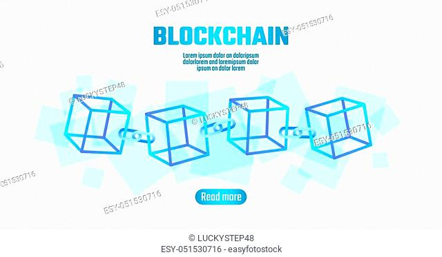 Blockchain cube chain symbol on square code big data flow information. Blue neon glowing planet Earth globe. Cryptocurrency finance bitcoin business concept...