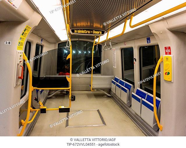Italy, Lombardy, Milan, subway train M5
