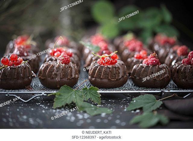Vegan Mini Chocolate Gugelhupfe with different berries
