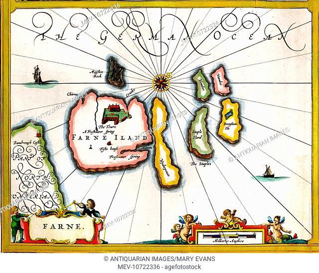 17th century Map of Farne Island