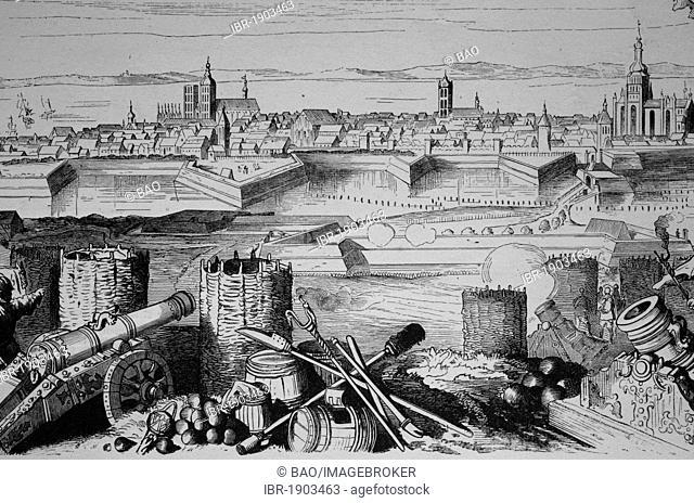 Stralsund in the 16th Century, Mecklenburg-Western Pomerania, Germany, historical woodcut, circa 1880
