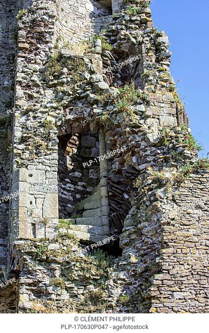 Spiral staircase in the Château de Regnéville, ruined 14th century castle at Regnéville-sur-Mer, Manche, Coutances, Normandy, France