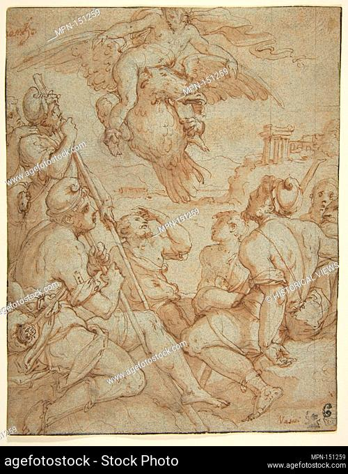 The Abduction of Ganymede. Artist: Giorgio Vasari (Italian, Arezzo 1511-1574 Florence); Date: 1511-74; Medium: Pen and brown ink, brush and brown wash