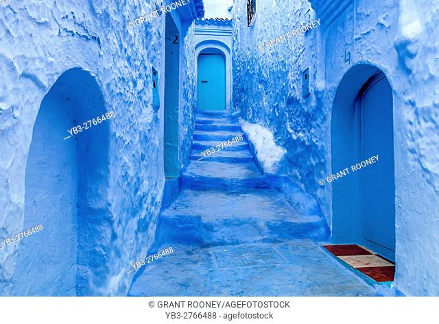 A Colourful Street In The Medina, Chefchaouen, Morocco