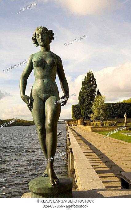 Statue of Maiden in Garden of City Hall, Stockholm, Sweden