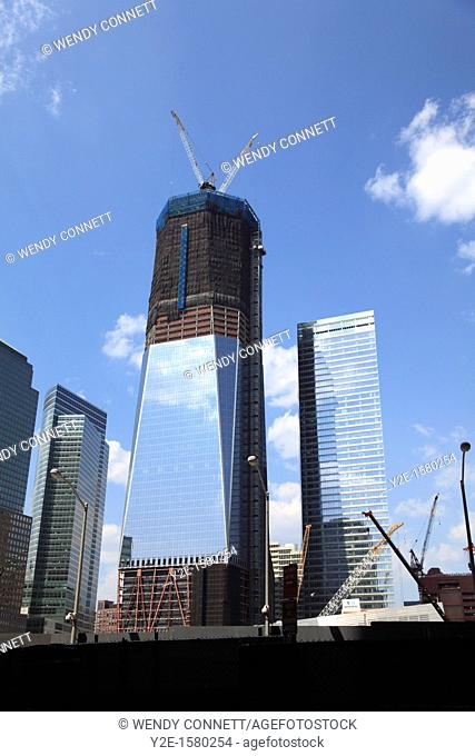 Freedom Tower, 1 World Trade Center under construction, Ground Zero, Manhattan, New York City, construction August 2011 nyc