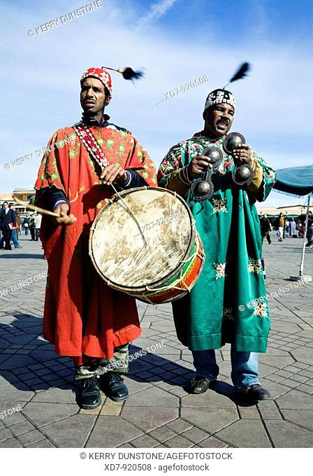 Morocco Marrakesh Place Djemma el-Fna Berber musicians