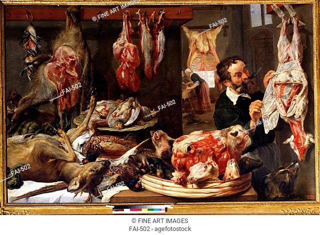 A butcher shop. Snyders, Frans (1579-1657). Oil on canvas. Baroque. 1630s. State A. Pushkin Museum of Fine Arts, Moscow. 135x210. Painting