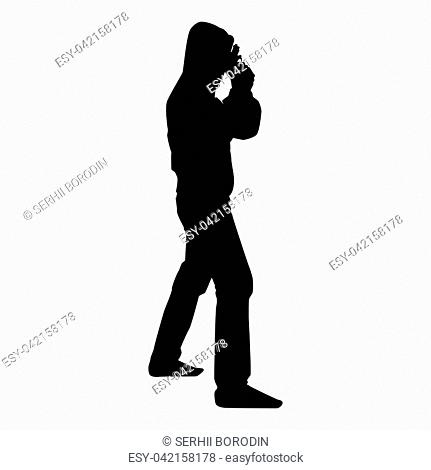 Man in the hood with gun Concept danger short arm near head icon black color vector illustration flat style simple image