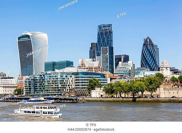 England, London, City Skyline and Thames River