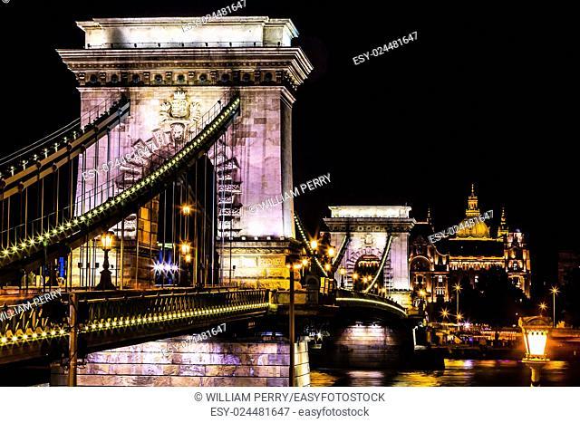 Chain Bridge Saint Stephens Danube River Reflection Budapest Hungary