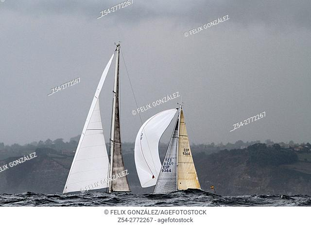 Sails boats at Storm, Bay Of Biscay, Spain