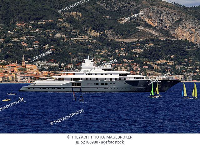 Motor yacht, Radiant, built by Luerssen Yachts, overall length, 110 metres, built in 2009, owned by the Al Futtaim family, United Arab Emirates, at Cap Martin