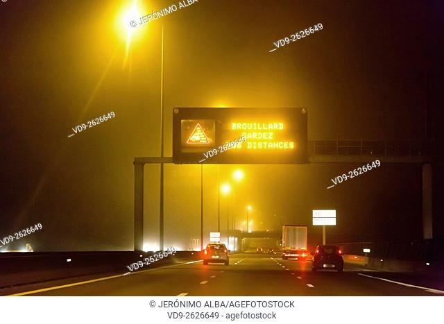 Highway night driving, Bordeaux Gironde Aquitaine France