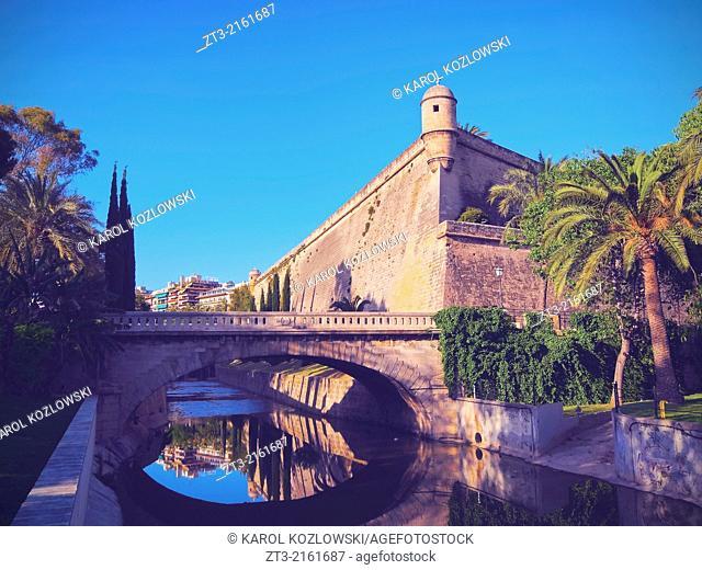 Walls of Es Baluard in Palma de Mallorca, Balearic Islands, Spain