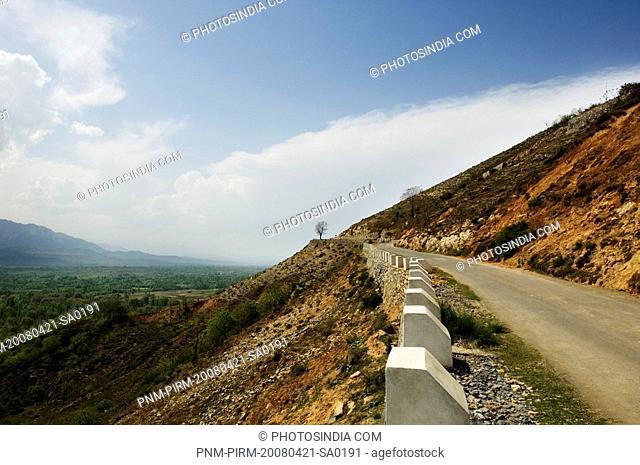 Road passing through a mountain, Jammu And Kashmir, India
