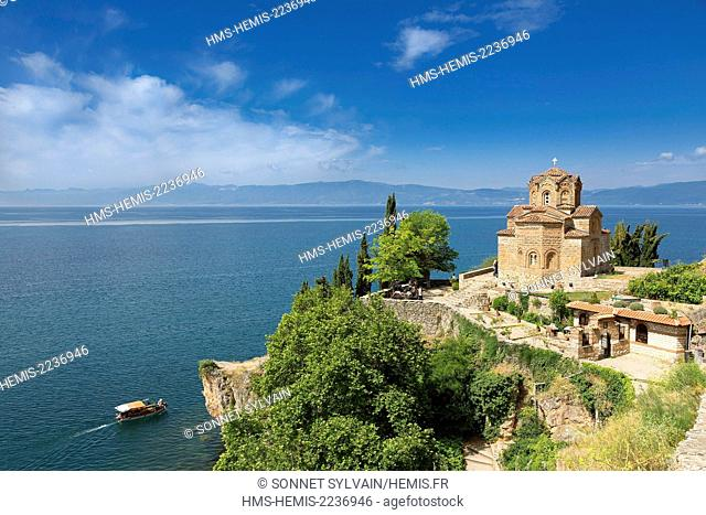 Republic of Macedonia, Lake Ohrid, listed as World Heritage by UNESCO Site, the Church of St John of Kaneo Byzantine style of the XIIIth century
