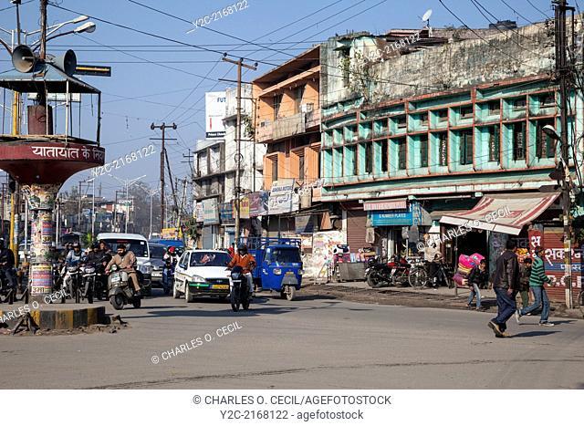 India, Dehradun. Morning Traffic at an Intersection