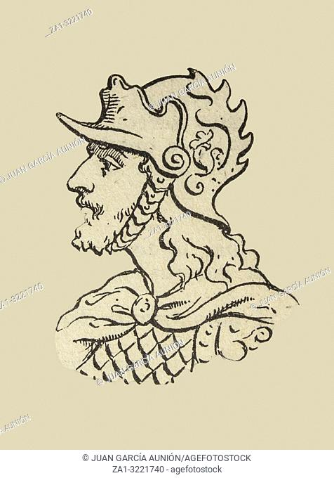 Athaulf, king of the Visigoths from 411 to 415 depiction. Draw from book Enciclopedia Autodidactica published by Dalmau Carles in 1954