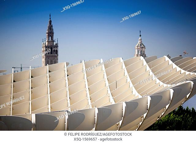 The Giralda tower as seen from the top of Metropol Parasol, Seville, Spain