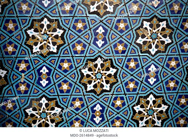 Friday Mosque, 1349, 14th Century, mosaic. Iran, Kerman. Detail. Detail of the mosaic decoration of the Mihrab in the Friday Mosque; the decorative panel...