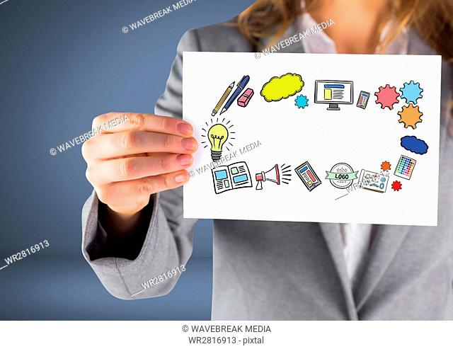 Businesswoman holding card with icons thinking