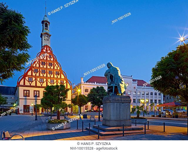 Gewandhaus, Schumann Monument and City Hall in Zwickau, Saxony, Germany